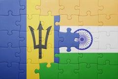 Déconcertez avec le drapeau national des Barbade et de l'Inde Photo stock