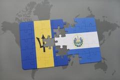 déconcertez avec le drapeau national des Barbade et du Salvador sur un fond de carte du monde Photos stock