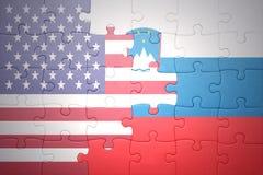 Déconcertez avec le drapeau national des Etats-Unis d'Amérique et de la Slovénie Photos libres de droits