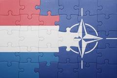 Déconcertez avec le drapeau national des Hollandes et de l'OTAN Photo libre de droits