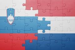 Déconcertez avec le drapeau national des Hollandes et de la Slovénie Photos stock