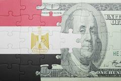 Déconcertez avec le drapeau national du billet de banque de l'Egypte et du dollar Photographie stock libre de droits