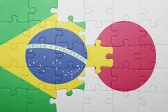 Déconcertez avec le drapeau national du Brésil et du Japon illustration de vecteur