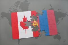 déconcertez avec le drapeau national du Canada et de la Mongolie sur un fond de carte du monde Photo libre de droits
