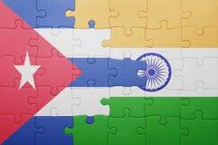 Déconcertez avec le drapeau national du Cuba et de l'Inde Images libres de droits