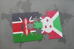 déconcertez avec le drapeau national du Kenya et du Burundi sur une carte du monde Image libre de droits