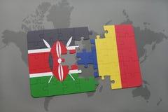 déconcertez avec le drapeau national du Kenya et du confetti sur une carte du monde Images stock