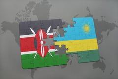 déconcertez avec le drapeau national du Kenya et du Rwanda sur une carte du monde Photographie stock