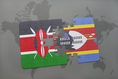 déconcertez avec le drapeau national du Kenya et du Souaziland sur une carte du monde Images stock