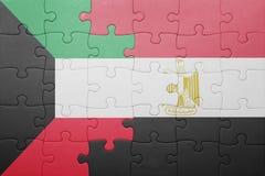 déconcertez avec le drapeau national du Kowéit et de l'Egypte Image libre de droits