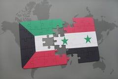 déconcertez avec le drapeau national du Kowéit et de la Syrie sur un fond de carte du monde Images libres de droits