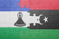 déconcertez avec le drapeau national du Lesotho et de la Libye Photos stock