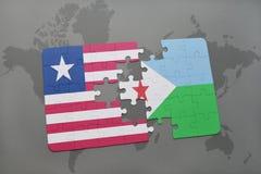 déconcertez avec le drapeau national du Libéria et du Djibouti sur une carte du monde Photographie stock libre de droits