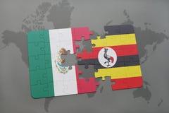 déconcertez avec le drapeau national du Mexique et de l'Ouganda sur un fond de carte du monde Photographie stock libre de droits