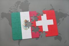 déconcertez avec le drapeau national du Mexique et de la Suisse sur un fond de carte du monde Image stock