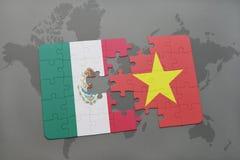 déconcertez avec le drapeau national du Mexique et du Vietnam sur un fond de carte du monde Image libre de droits