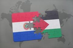 déconcertez avec le drapeau national du Paraguay et de la Palestine sur une carte du monde Image stock