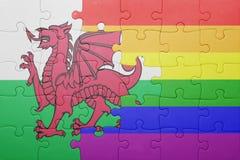 Déconcertez avec le drapeau national du Pays de Galles et du drapeau gai Images stock