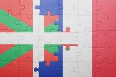 Déconcertez avec le drapeau national du pays et des Frances Basques Photo libre de droits
