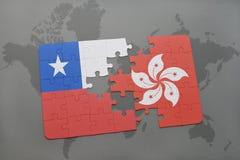 déconcertez avec le drapeau national du piment et de Hong Kong sur un fond de carte du monde Photographie stock