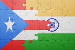 Déconcertez avec le drapeau national du Porto Rico et de l'Inde Photo libre de droits