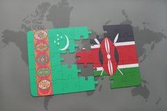 déconcertez avec le drapeau national du Turkménistan et du Kenya sur une carte du monde Images stock