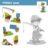 Déconcertez le jeu pour des enfants avec le pêcheur de garçon illustration libre de droits