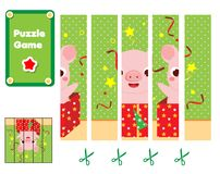 Déconcertez pour des enfants en bas âge Jeu éducatif d'enfants Complétez le tableau de la situation avec le porc de bande dessiné photographie stock libre de droits