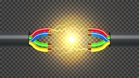 Déconnectez le vecteur de câble électrique Conducteur de câblage cuivre Composant de connexion de communication réaliste 3D d'iso illustration stock