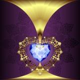 Décor à jour de coeurs d'or avec un ornement sur un fond floral d'art déco illustration de vecteur