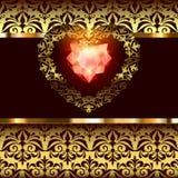 Décor à jour de coeurs d'or avec un ornement sur un fond floral d'art déco illustration libre de droits
