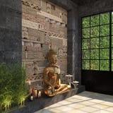 Décor à la maison avec une statue d'or de Bouddha contre un mur noir avec un modèle ethnique des pierres La composition d'un ense illustration libre de droits
