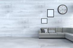 Décor blanc gris de salon avec le sofa gris Photos libres de droits