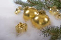 Décor d'or de carte postale de Noël Photo libre de droits
