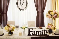 Décor de mariage, café de couleur Image libre de droits