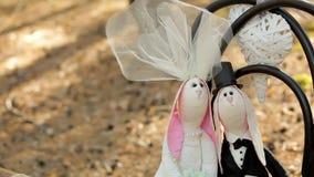 Décor de mariage - jeunes mariés de lièvres banque de vidéos