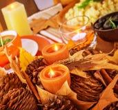 Décor de table de jour de thanksgiving Image libre de droits