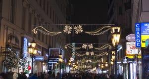 Décor de vacances de rue de mode de Budapest Photographie stock