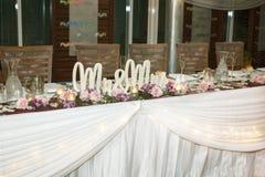 Décor et installation de réception de mariage image stock
