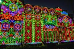 Décor léger de métropole de Bangkok au cas d'exposition de lumière de nouvelle année à Bangkok avec des personnes venues pour voi image libre de droits