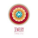 Décoration élégante de bijoux de vecteur de pierres gemmes Photos stock