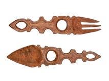 Décoration africaine de mur : cuillère et fourchette d'acajou Photographie stock