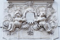 Décoration architecturale du bâtiment à Prague, République Tchèque Photographie stock