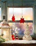 Décoration atmosphérique de filon-couche de fenêtre de Noël photo libre de droits