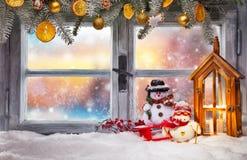 Décoration atmosphérique de filon-couche de fenêtre de Noël Photographie stock