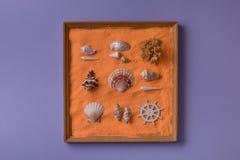 Décoration avec les coquillages et le sable Photos libres de droits