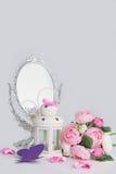 Décoration blanche de miroir de cage, de lanterne et d'argent Images libres de droits