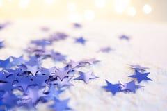 Décoration bleue et argentée de Noël avec l'espace de copie Joyeux Noël photographie stock libre de droits
