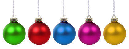 Décoration colorée de deco de babioles de boules de Noël d'isolement Image stock