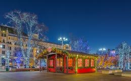 Décoration d'éclairage de nouvelle année et de Noël de la ville La Russie, Image libre de droits